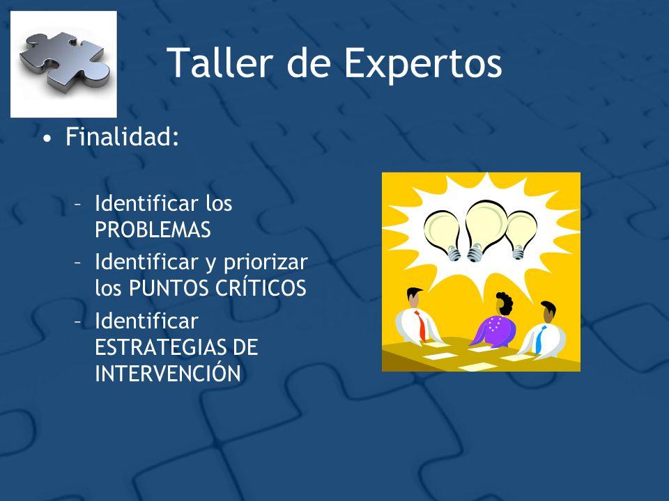 Taller de Expertos Finalidad: –Identificar los PROBLEMAS –Identificar y priorizar los PUNTOS CRÍTICOS –Identificar ESTRATEGIAS DE INTERVENCIÓN