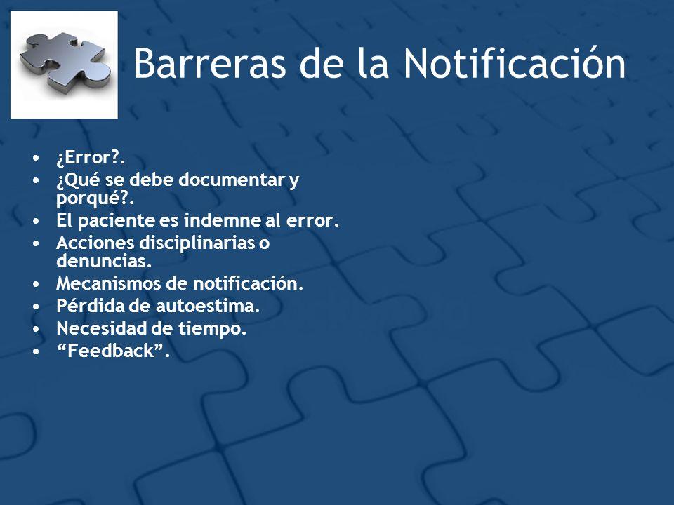 Barreras de la Notificación ¿Error?. ¿Qué se debe documentar y porqué?. El paciente es indemne al error. Acciones disciplinarias o denuncias. Mecanism
