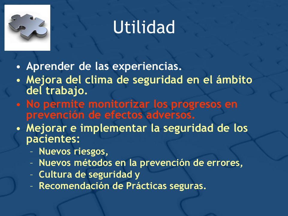 Utilidad Aprender de las experiencias. Mejora del clima de seguridad en el ámbito del trabajo. No permite monitorizar los progresos en prevención de e