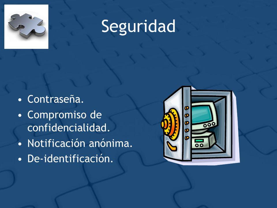 Seguridad Contraseña. Compromiso de confidencialidad. Notificación anónima. De-identificación.