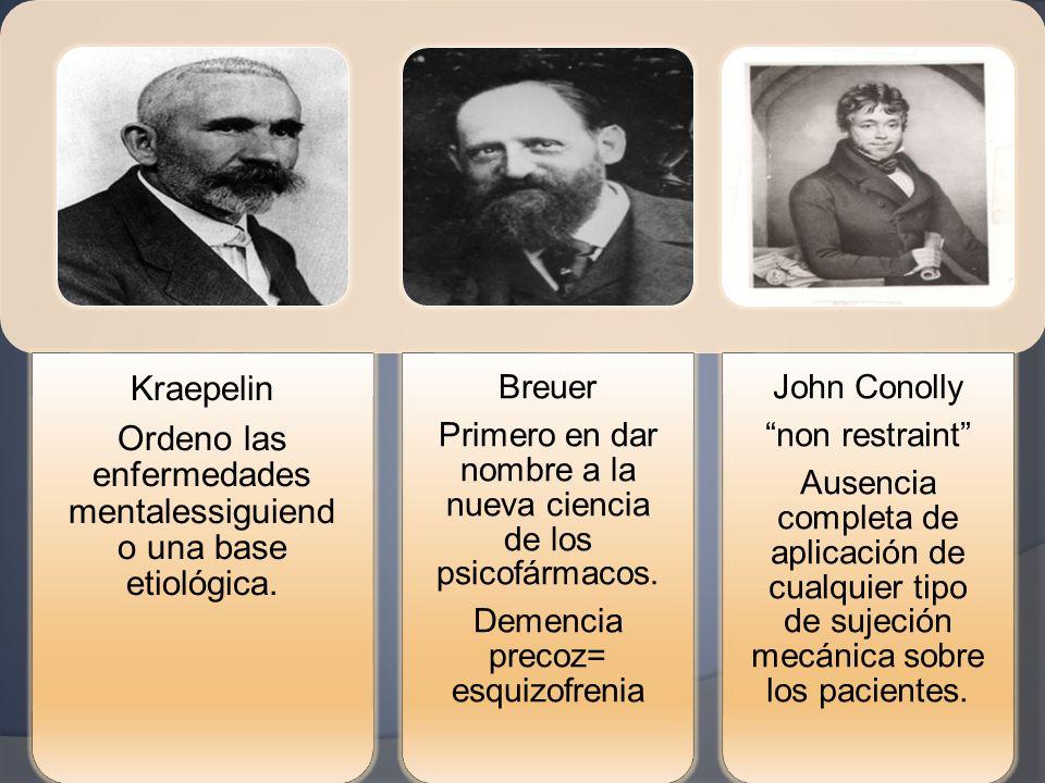 Kraepelin Ordeno las enfermedades mentalessiguiend o una base etiológica. Breuer Primero en dar nombre a la nueva ciencia de los psicofármacos. Demenc