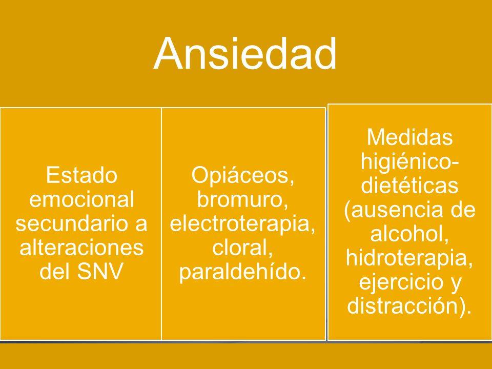 Ansiedad Medidas higiénico- dietéticas (ausencia de alcohol, hidroterapia, ejercicio y distracción). Estado emocional secundario a alteraciones del SN