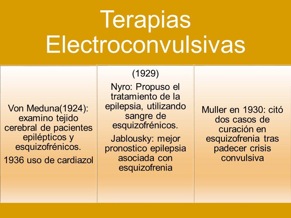 Terapias Electroconvulsivas Von Meduna(1924): examino tejido cerebral de pacientes epilépticos y esquizofrénicos. 1936 uso de cardiazol (1929) Nyro: P