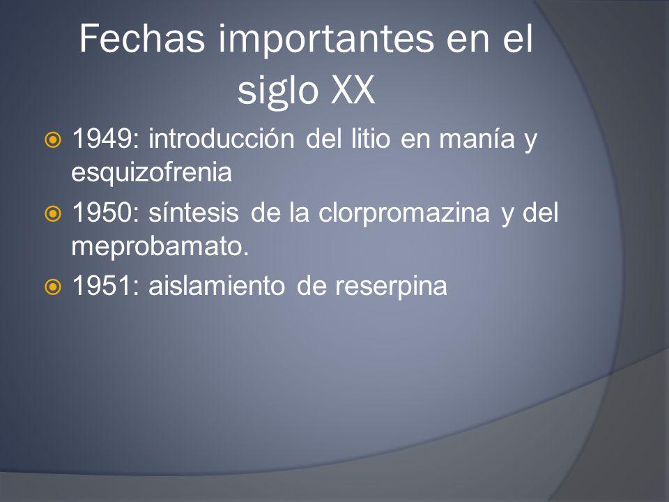 Fechas importantes en el siglo XX 1949: introducción del litio en manía y esquizofrenia 1950: síntesis de la clorpromazina y del meprobamato. 1951: ai