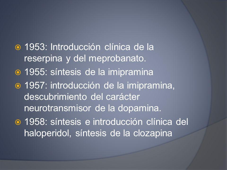 1953: Introducción clínica de la reserpina y del meprobanato. 1955: síntesis de la imipramina 1957: introducción de la imipramina, descubrimiento del