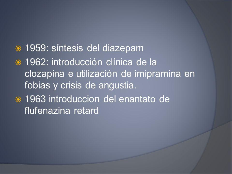 1959: síntesis del diazepam 1962: introducción clínica de la clozapina e utilización de imipramina en fobias y crisis de angustia. 1963 introduccion d