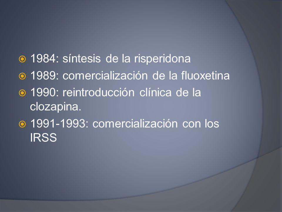 1984: síntesis de la risperidona 1989: comercialización de la fluoxetina 1990: reintroducción clínica de la clozapina. 1991-1993: comercialización con