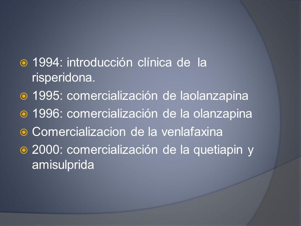 1994: introducción clínica de la risperidona. 1995: comercialización de laolanzapina 1996: comercialización de la olanzapina Comercializacion de la ve