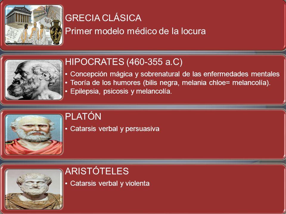 GRECIA CLÁSICA Primer modelo médico de la locura HIPOCRATES (460-355 a.C) Concepción mágica y sobrenatural de las enfermedades mentales Teoría de los