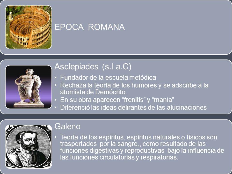 EPOCA ROMANA Asclepiades (s.I a.C) Fundador de la escuela metódica Rechaza la teoría de los humores y se adscribe a la atomista de Demócrito. En su ob