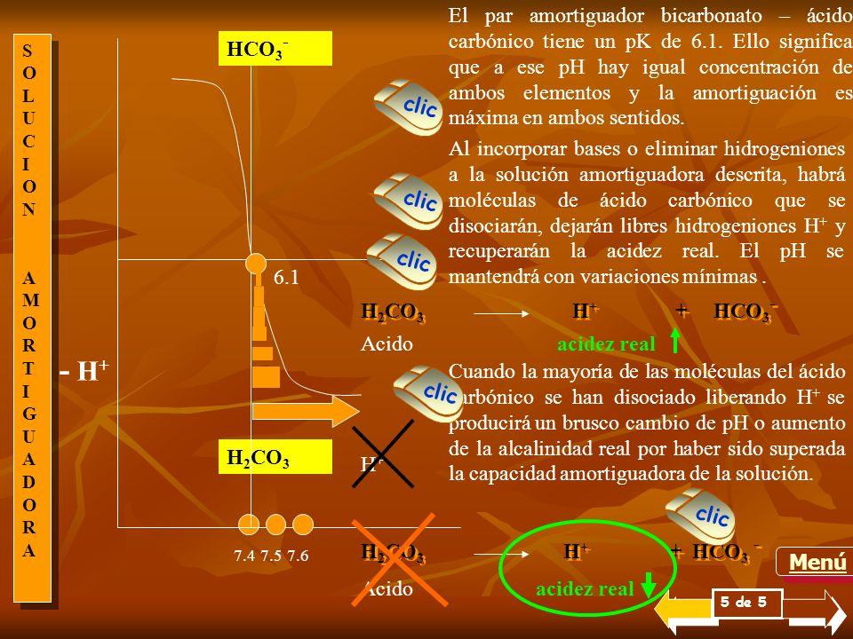 SOLUCIONAMORTIGUADORASOLUCIONAMORTIGUADORA SOLUCIONAMORTIGUADORASOLUCIONAMORTIGUADORA El par amortiguador bicarbonato – ácido carbónico tiene un pK de 6.1.