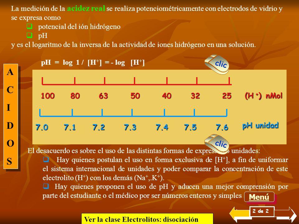 Si se considera una solución ácida cuya concentración es 0,1 molar (acidez titulable) contendrá como acidez real 100 mM/l de H + si es ácido clorhídri