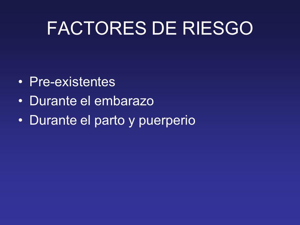 FACTORES DE RIESGO Pre-existentes Durante el embarazo Durante el parto y puerperio