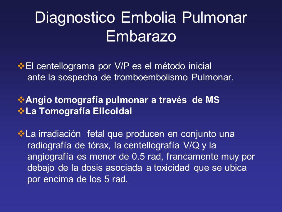 Diagnostico Embolia Pulmonar Embarazo El centellograma por V/P es el método inicial ante la sospecha de tromboembolismo Pulmonar. Angio tomografía pul