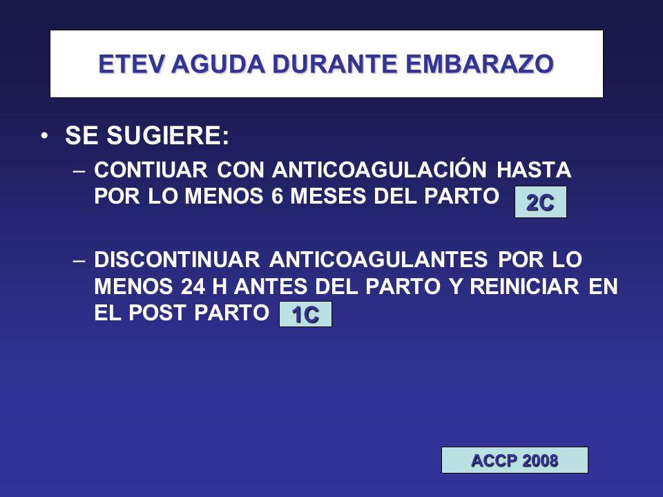 ETEV SE SUGIERE: –CONTIUAR CON ANTICOAGULACIÓN HASTA POR LO MENOS 6 MESES DEL PARTO –DISCONTINUAR ANTICOAGULANTES POR LO MENOS 24 H ANTES DEL PARTO Y REINICIAR EN EL POST PARTO 1C ETEV AGUDA DURANTE EMBARAZO ACCP 2008 2C