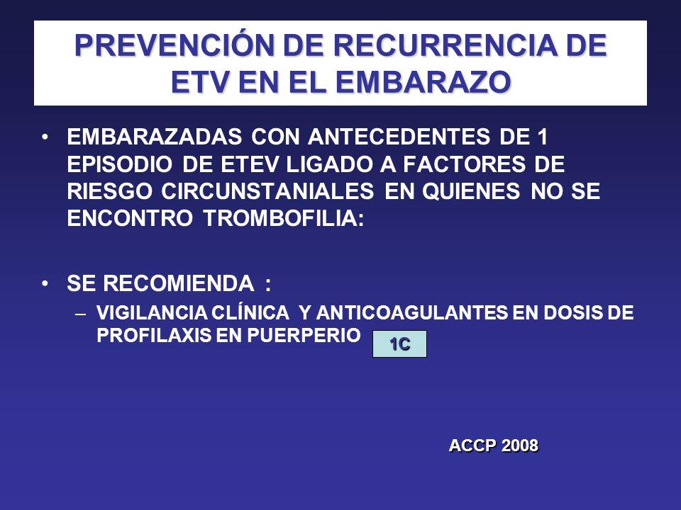 PREVENCIÓN DE RECURRENCIA DE ETV EN EL EMBARAZO EMBARAZADAS CON ANTECEDENTES DE 1 EPISODIO DE ETEV LIGADO A FACTORES DE RIESGO CIRCUNSTANIALES EN QUIE
