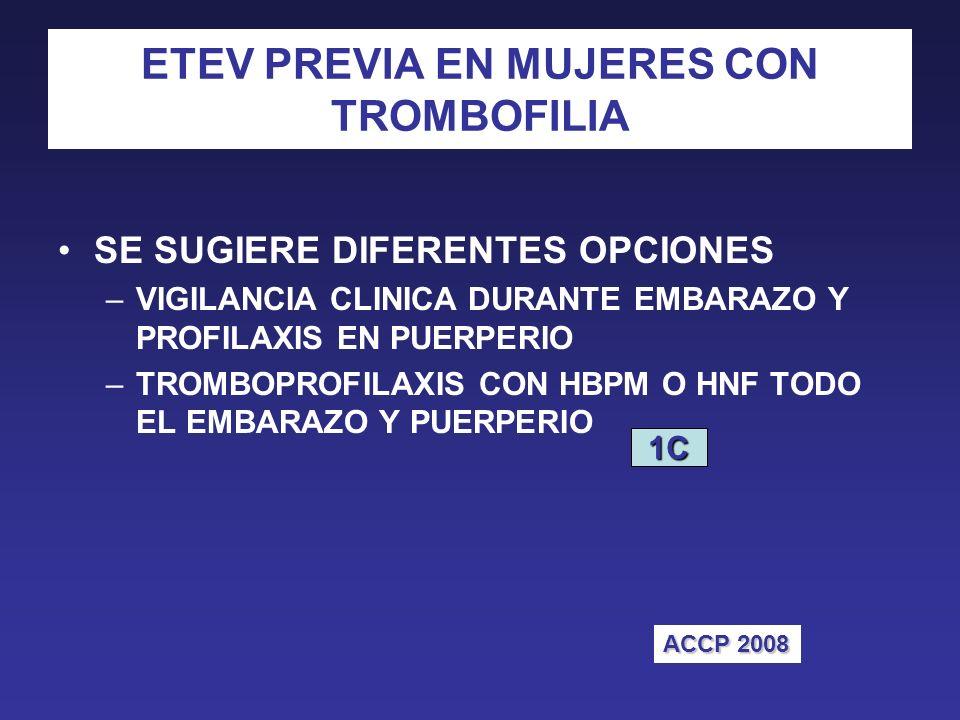 ETEV PREVIA EN MUJERES CON TROMBOFILIA SE SUGIERE DIFERENTES OPCIONES –VIGILANCIA CLINICA DURANTE EMBARAZO Y PROFILAXIS EN PUERPERIO –TROMBOPROFILAXIS CON HBPM O HNF TODO EL EMBARAZO Y PUERPERIO 1C ACCP 2008