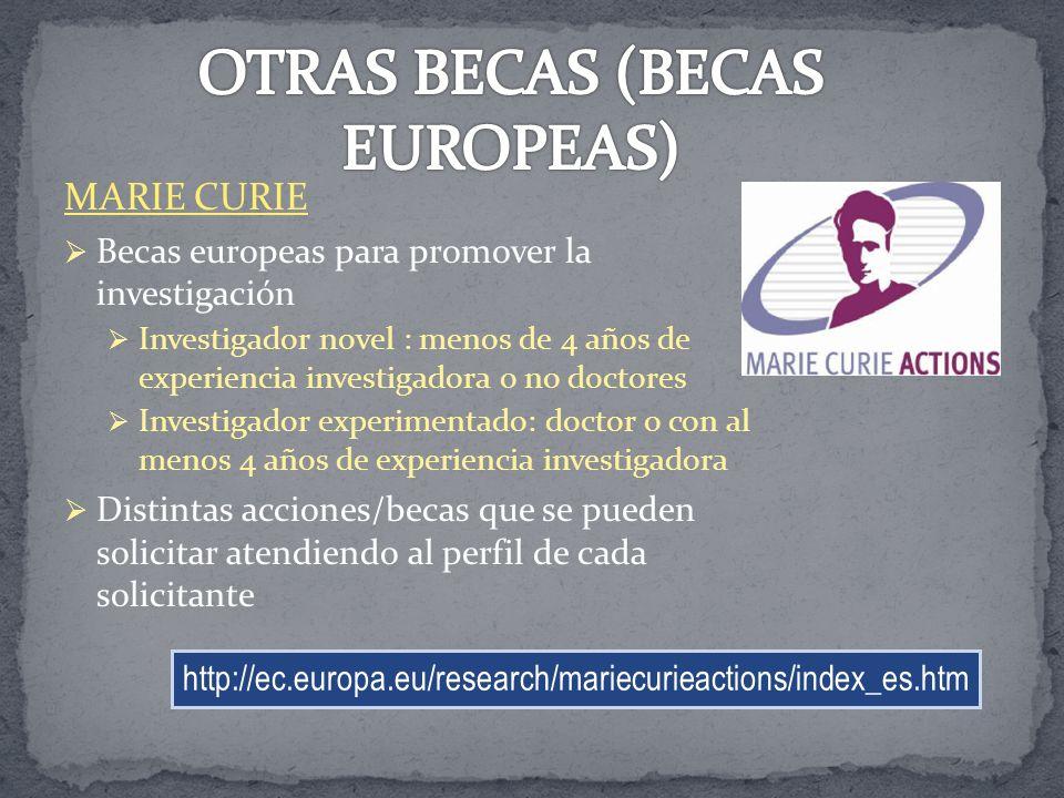 MARIE CURIE Becas europeas para promover la investigación Investigador novel : menos de 4 años de experiencia investigadora o no doctores Investigador