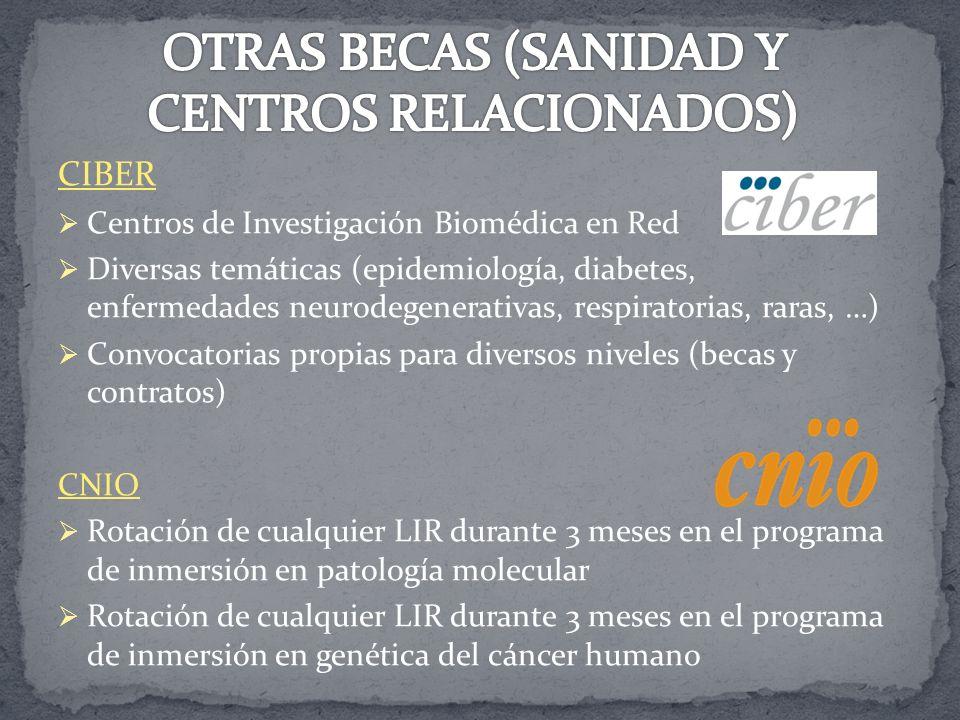 CIBER Centros de Investigación Biomédica en Red Diversas temáticas (epidemiología, diabetes, enfermedades neurodegenerativas, respiratorias, raras, …)