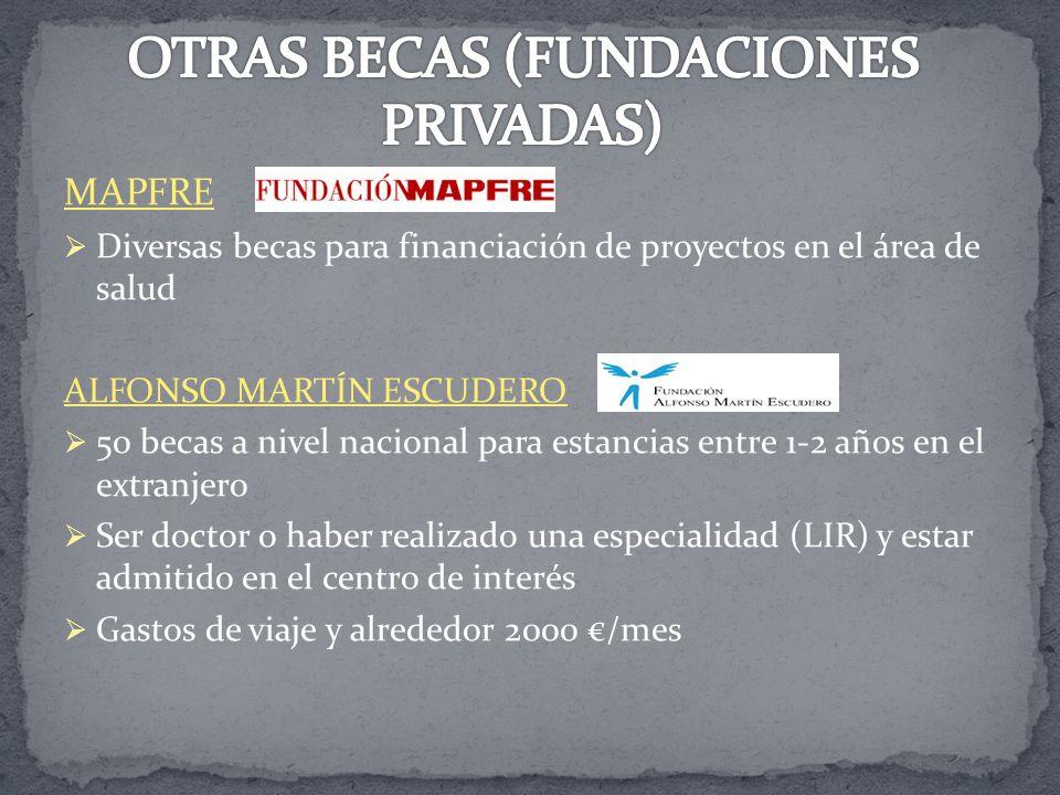 MAPFRE Diversas becas para financiación de proyectos en el área de salud ALFONSO MARTÍN ESCUDERO 50 becas a nivel nacional para estancias entre 1-2 añ