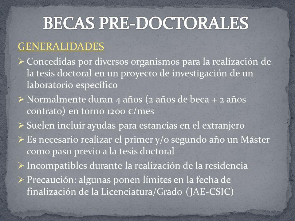 GENERALIDADES Concedidas por diversos organismos para la realización de la tesis doctoral en un proyecto de investigación de un laboratorio específico