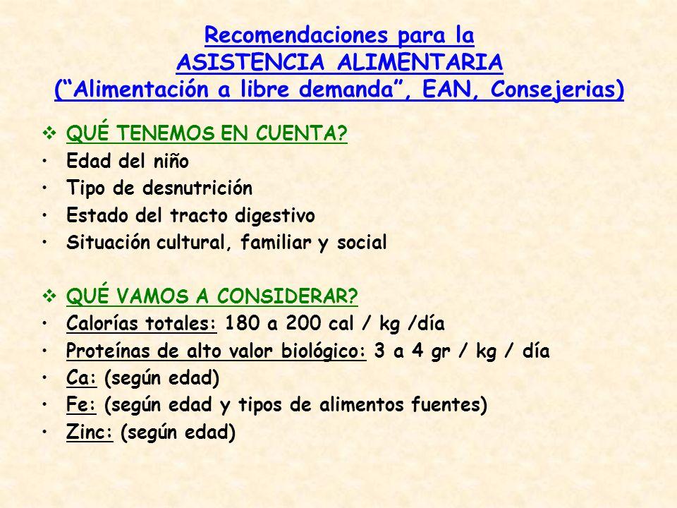 Recomendaciones para la ASISTENCIA ALIMENTARIA (Alimentación a libre demanda, EAN, Consejerias) QUÉ TENEMOS EN CUENTA? Edad del niño Tipo de desnutric