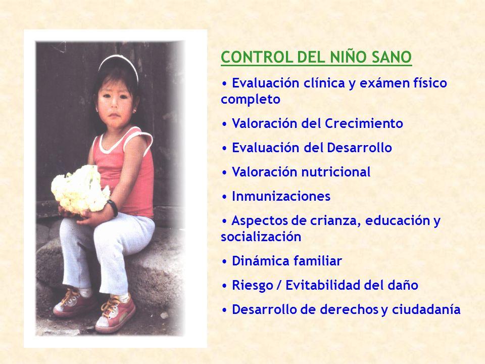 CONTROL DEL NIÑO SANO Evaluación clínica y exámen físico completo Valoración del Crecimiento Evaluación del Desarrollo Valoración nutricional Inmuniza
