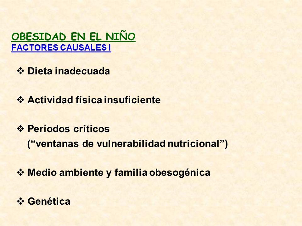 OBESIDAD EN EL NIÑO FACTORES CAUSALES I Dieta inadecuada Actividad física insuficiente Períodos críticos (ventanas de vulnerabilidad nutricional) Medi