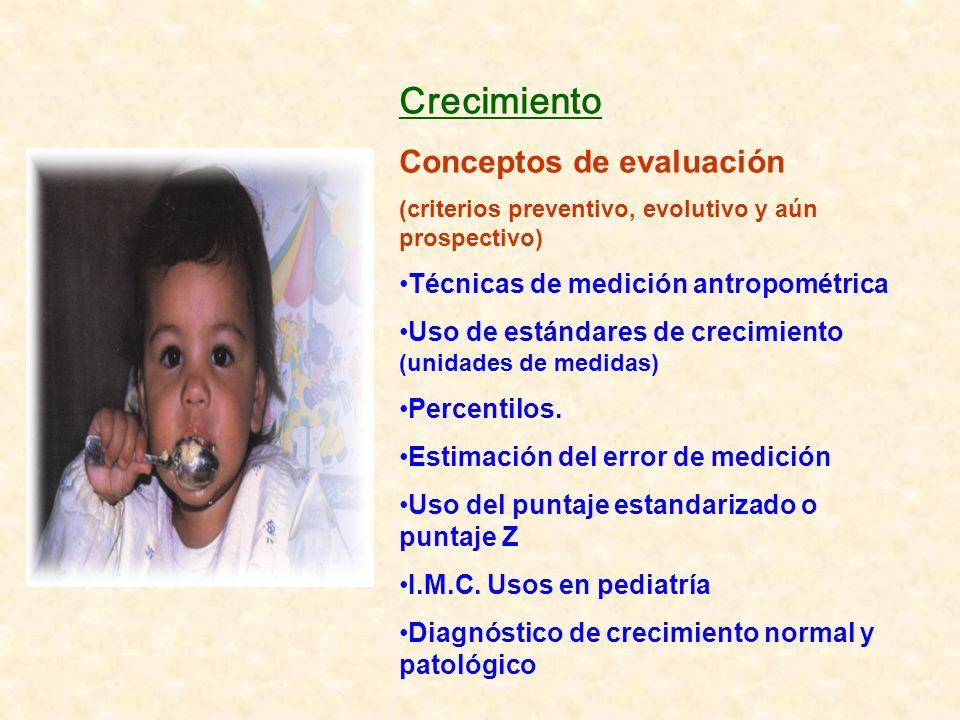 Crecimiento Conceptos de evaluación (criterios preventivo, evolutivo y aún prospectivo) Técnicas de medición antropométrica Uso de estándares de creci