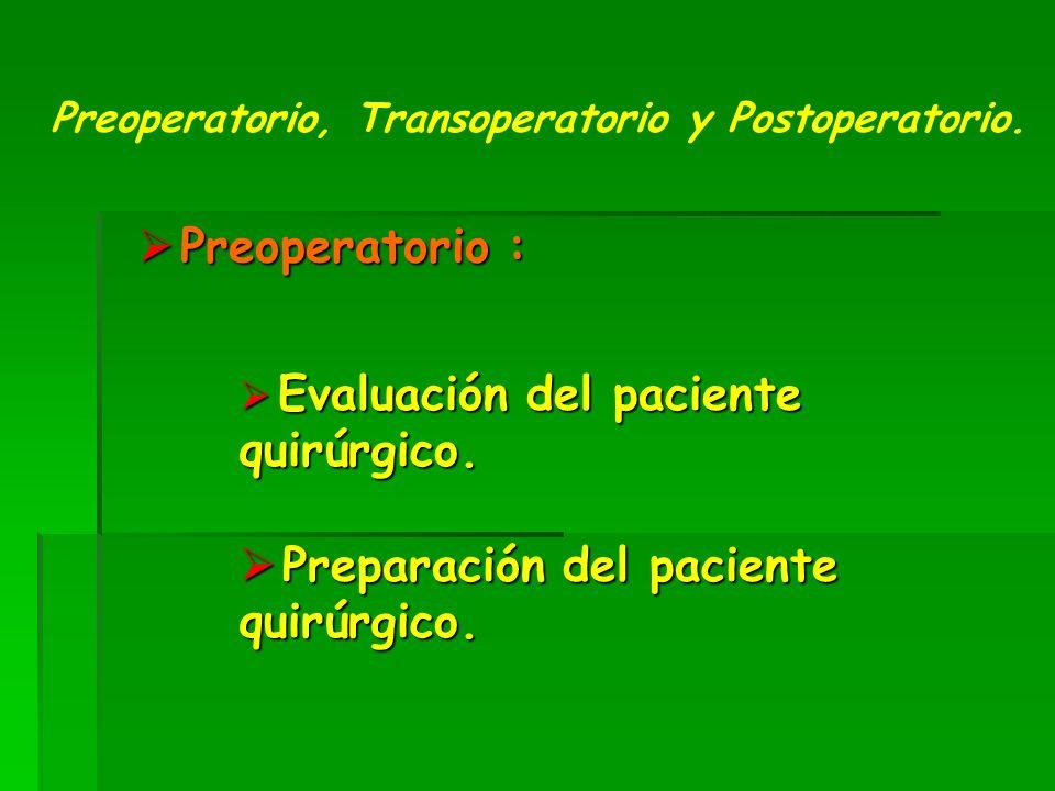 Evaluación del paciente quirúrgico.Evaluación del paciente quirúrgico.