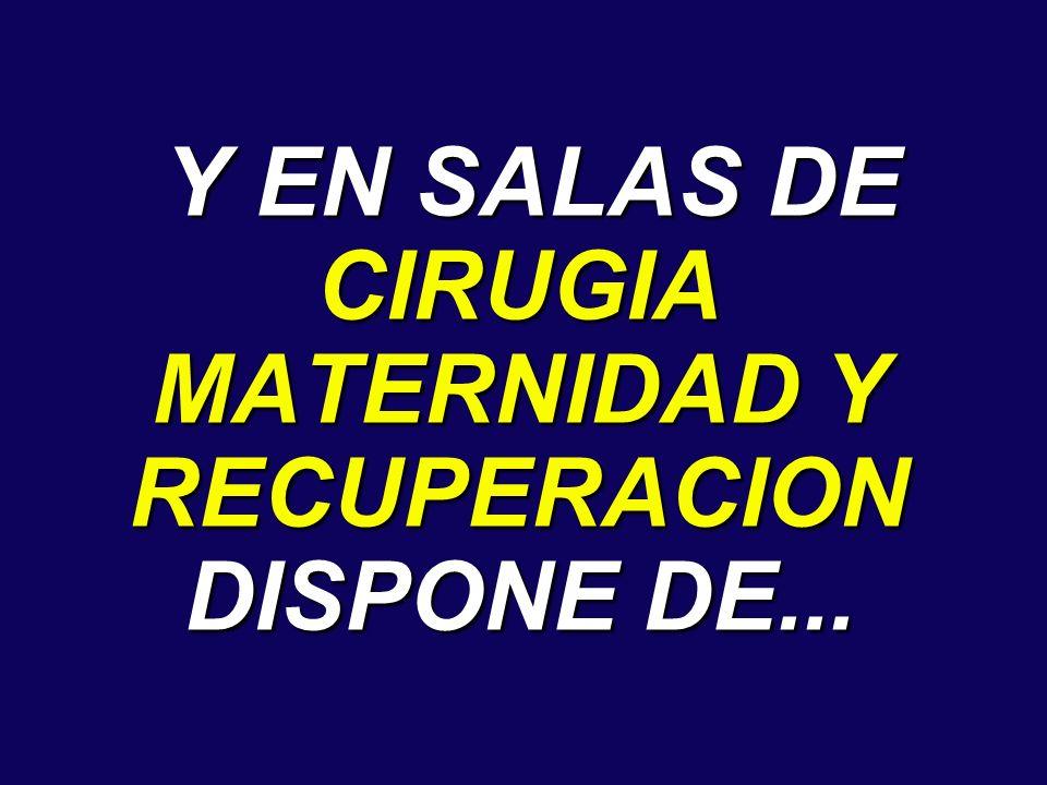 Y EN SALAS DE CIRUGIA MATERNIDAD Y RECUPERACION DISPONE DE... Y EN SALAS DE CIRUGIA MATERNIDAD Y RECUPERACION DISPONE DE...