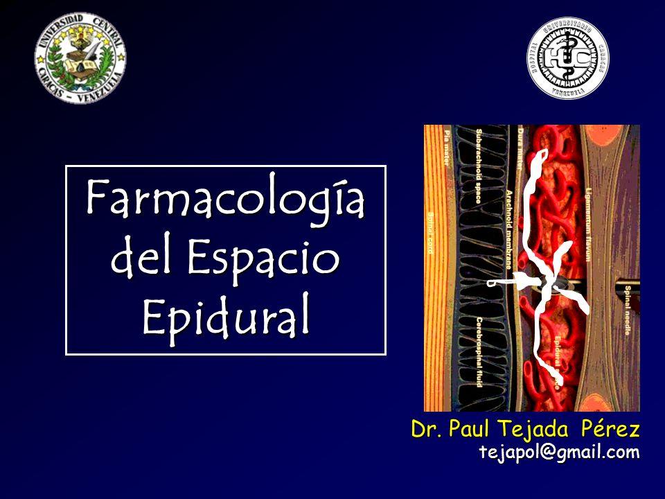 Farmacología del Espacio Epidural Dr. Paul Tejada Pérez tejapol@gmail.com