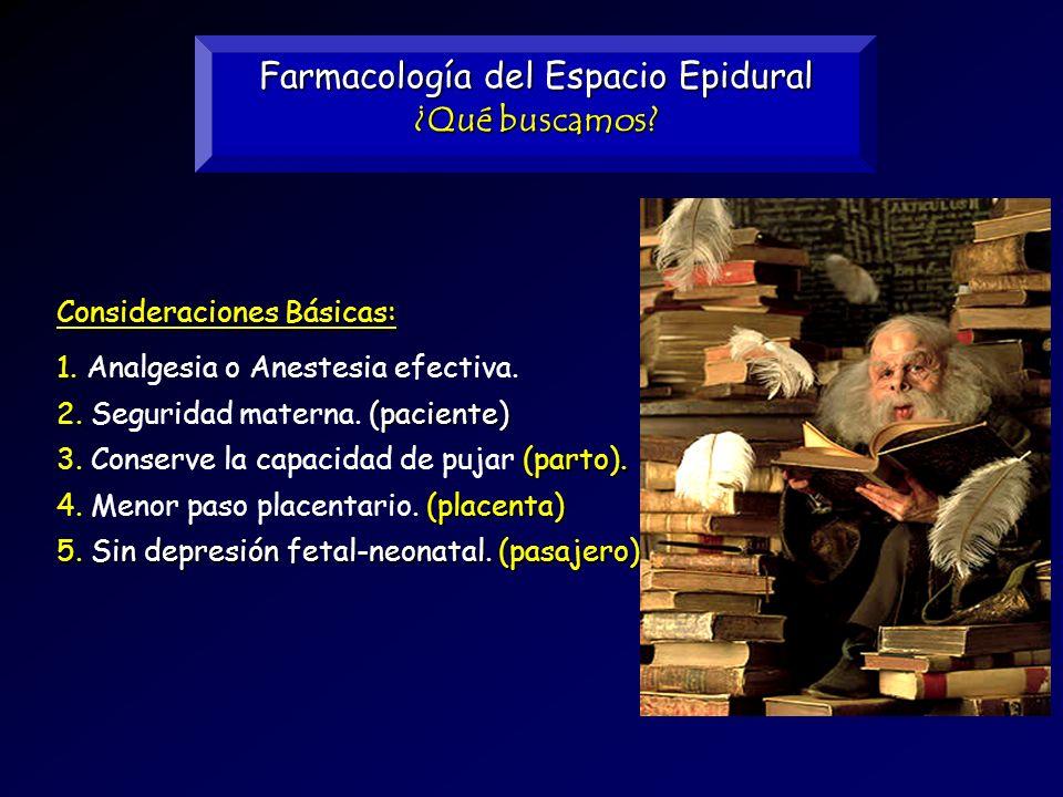 Farmacología del Espacio Epidural ¿Qué buscamos? Consideraciones Básicas: 1. 1. Analgesia o Anestesia efectiva. 5. Sin depresión fetal-neonatal. (pasa