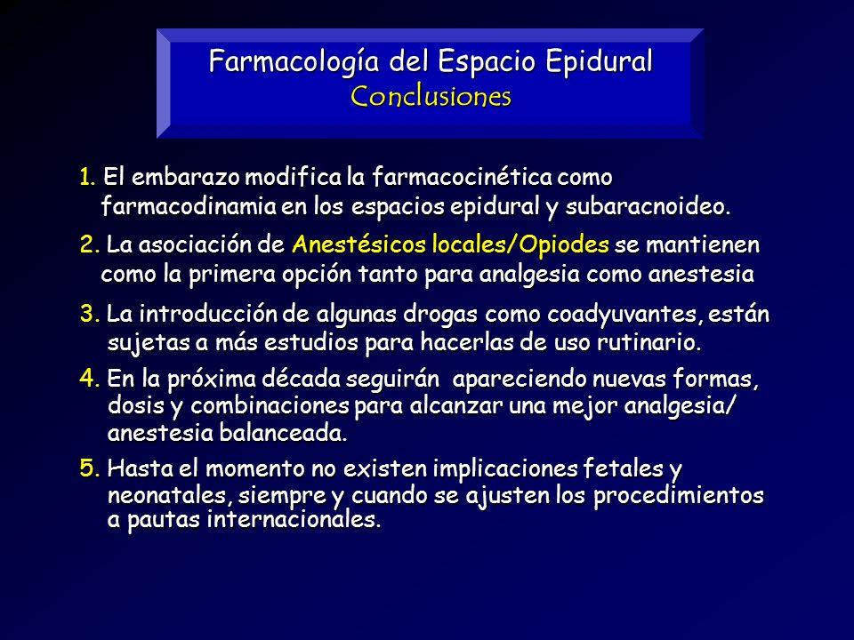 Farmacología del Espacio Epidural Conclusiones 5. Hasta el momento no existen implicaciones fetales y neonatales, siempre y cuando se ajusten los proc