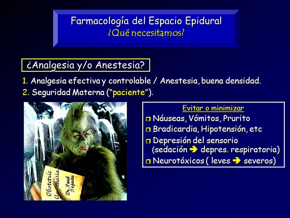 Farmacología del Espacio Epidural ¿Qué necesitamos? 2. Seguridad Materna (paciente). 1. Analgesia efectiva y controlable / Anestesia, buena densidad.