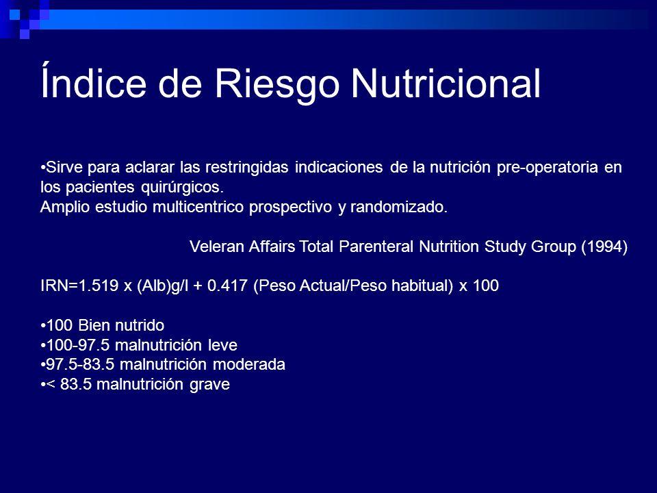 Índice de Riesgo Nutricional Sirve para aclarar las restringidas indicaciones de la nutrición pre-operatoria en los pacientes quirúrgicos. Amplio estu