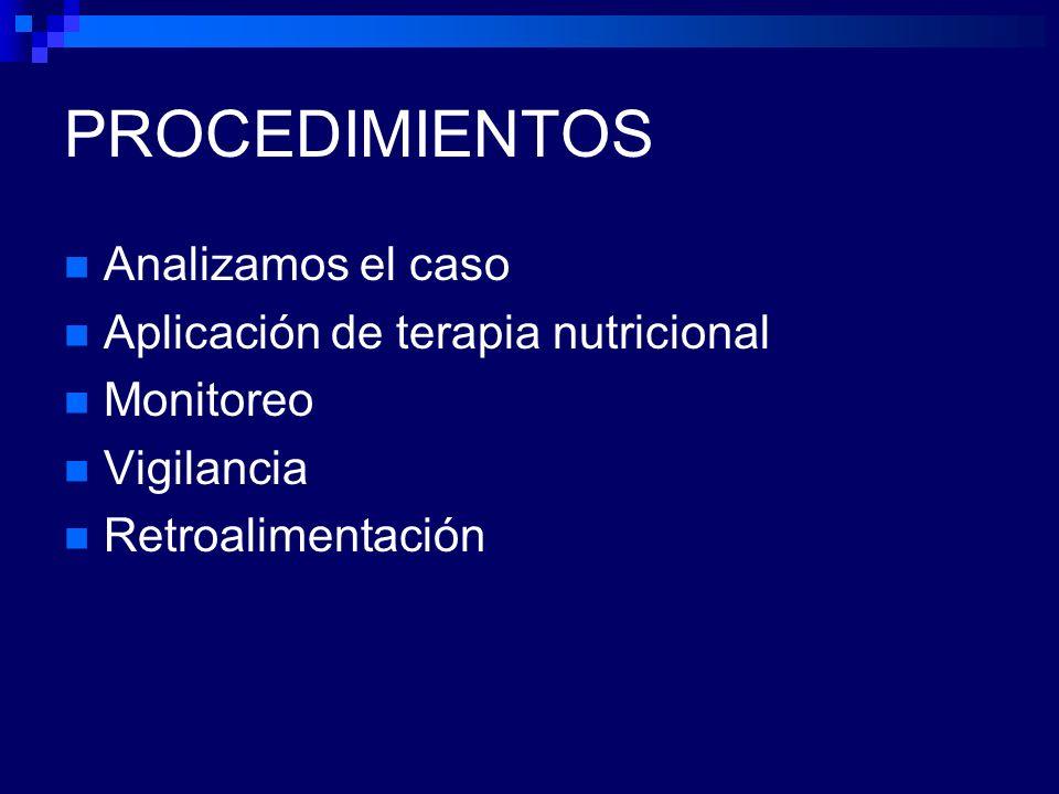 PROCEDIMIENTOS Analizamos el caso Aplicación de terapia nutricional Monitoreo Vigilancia Retroalimentación