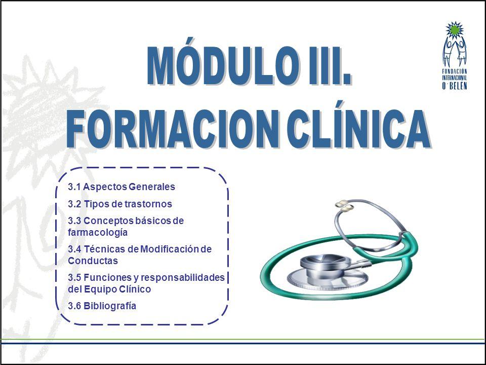 3.1 Aspectos Generales 3.2 Tipos de trastornos 3.3 Conceptos básicos de farmacología 3.4 Técnicas de Modificación de Conductas 3.5 Funciones y respons