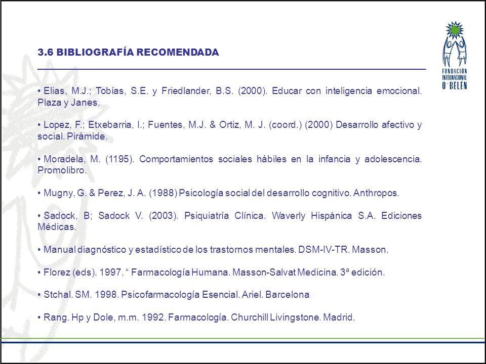 3.6 BIBLIOGRAFÍA RECOMENDADA __________________________________________________________________________ Elias, M.J.; Tobías, S.E. y Friedlander, B.S.