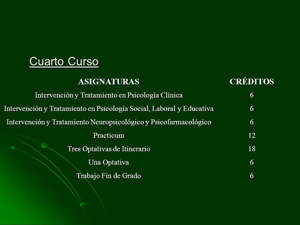 Cuarto Curso ASIGNATURASCRÉDITOS Intervención y Tratamiento en Psicología Clínica 6 Intervención y Tratamiento en Psicología Social, Laboral y Educati