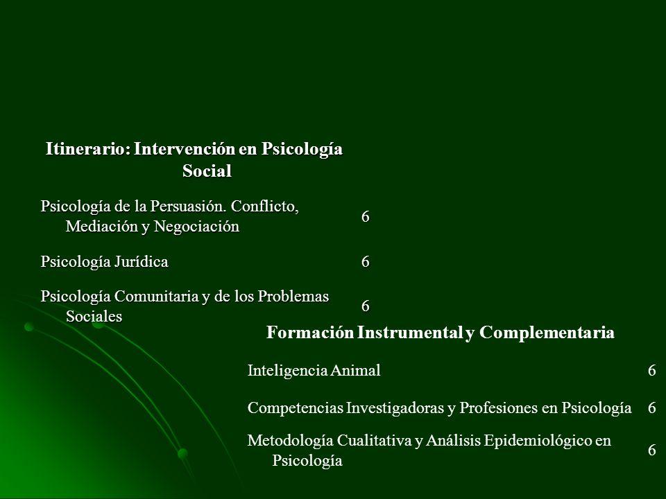 Itinerario: Intervención en Psicología Social Psicología de la Persuasión. Conflicto, Mediación y Negociación 6 Psicología Jurídica 6 Psicología Comun