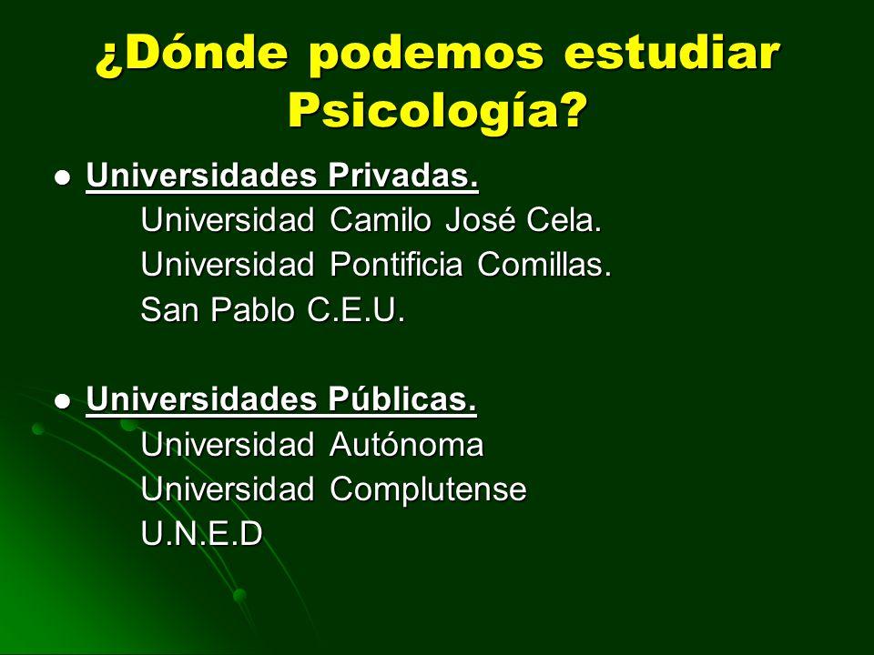 ¿Dónde podemos estudiar Psicología? Universidades Privadas. Universidades Privadas. Universidad Camilo José Cela. Universidad Pontificia Comillas. San