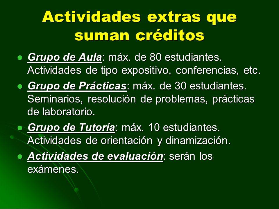 Actividades extras que suman créditos Grupo de Aula: máx. de 80 estudiantes. Actividades de tipo expositivo, conferencias, etc. Grupo de Aula: máx. de