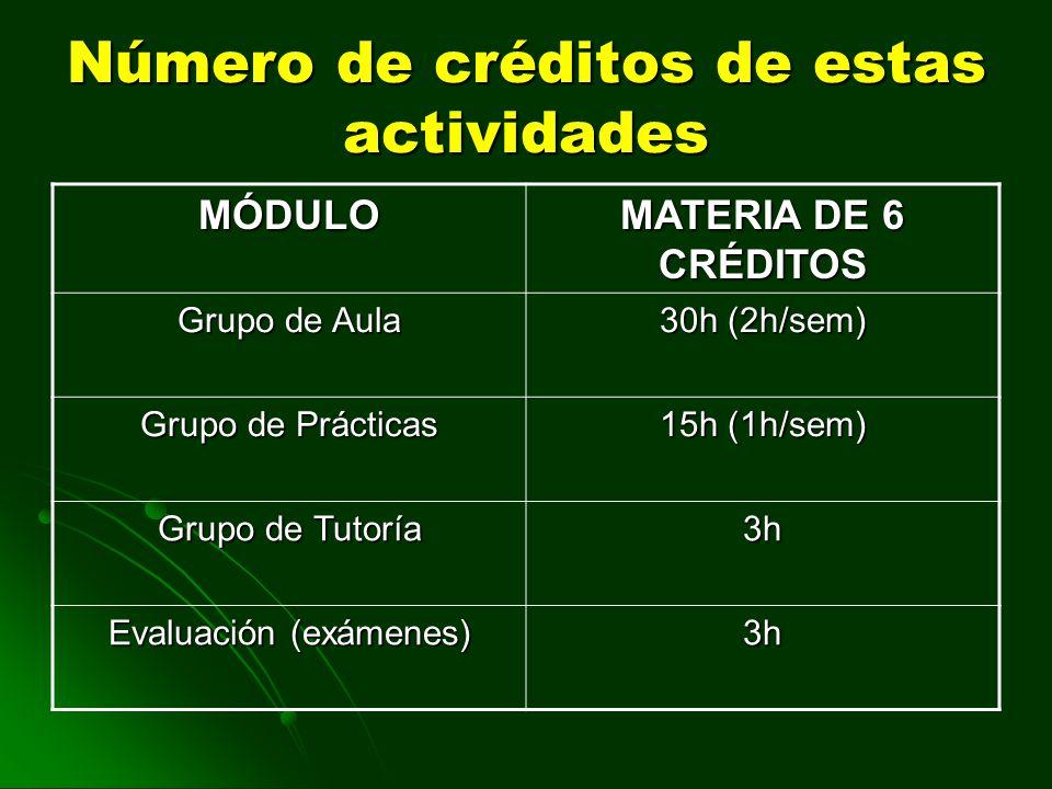Número de créditos de estas actividades MÓDULO MATERIA DE 6 CRÉDITOS Grupo de Aula 30h (2h/sem) Grupo de Prácticas 15h (1h/sem) Grupo de Tutoría 3h Ev