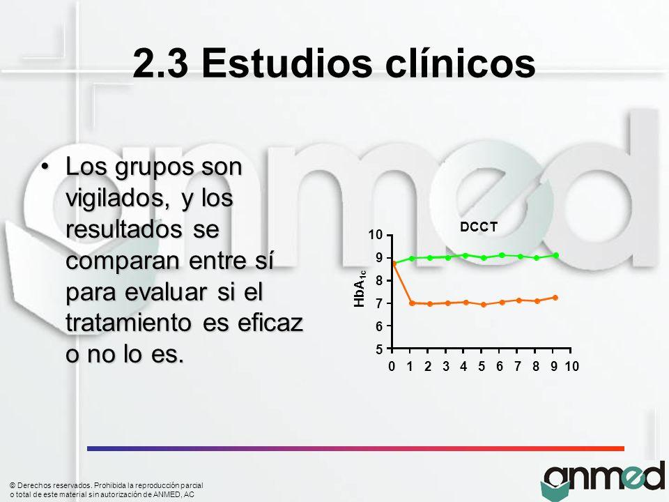 © Derechos reservados. Prohibida la reproducción parcial o total de este material sin autorización de ANMED, AC 2.3 Estudios clínicos Los grupos son v