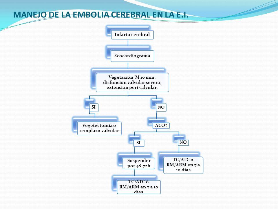 MANEJO DE LA EMBOLIA CEREBRAL EN LA E.I. Infarto cerebral Ecocardiograma Vegetación M 10 mm, disfunción valvular severa, extensión peri valvular. SI V