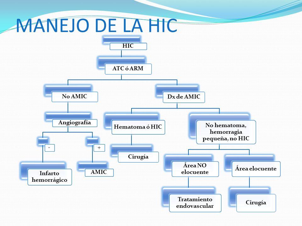 MANEJO DE LA HIC HIC ATC ó ARM No AMIC Angiografía - Infarto hemorrágico + AMIC Dx de AMIC Hematoma ó HIC Cirugía No hematoma, hemorragia pequeña, no