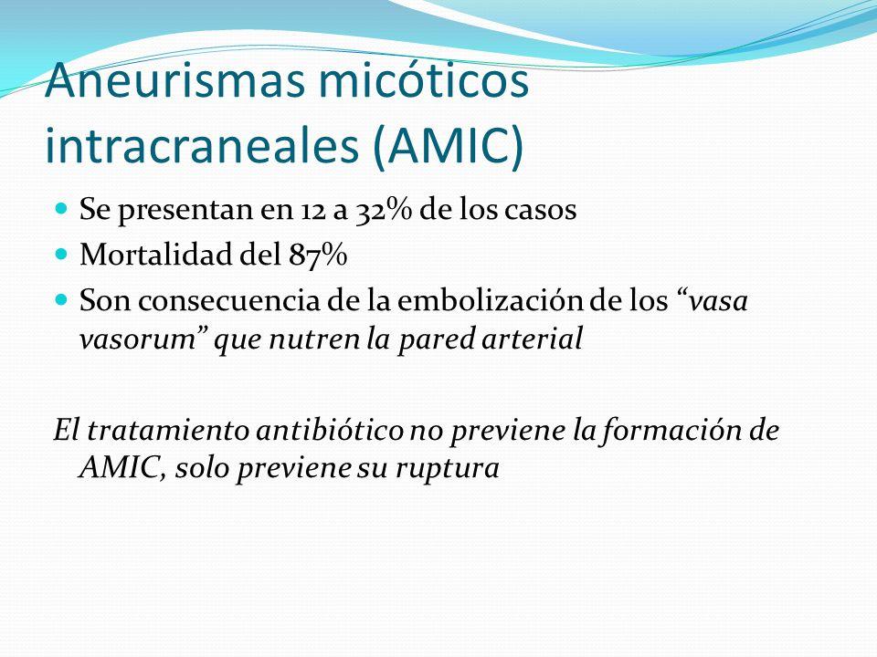 Aneurismas micóticos intracraneales (AMIC) Se presentan en 12 a 32% de los casos Mortalidad del 87% Son consecuencia de la embolización de los vasa va