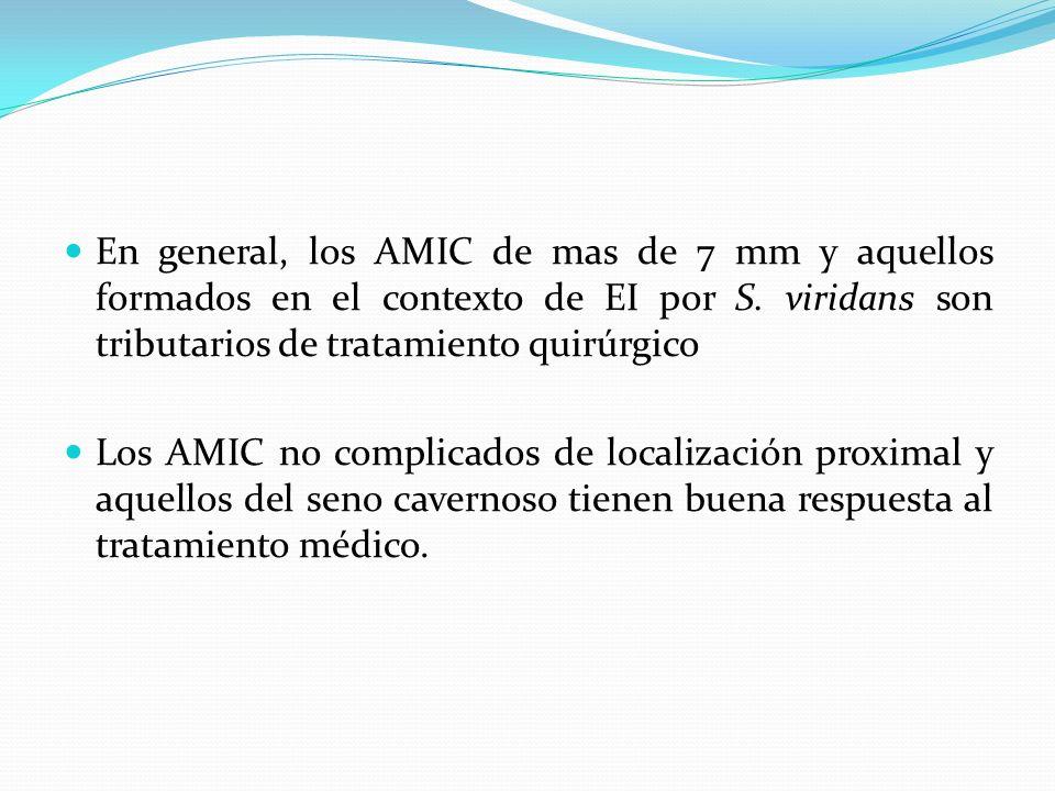 En general, los AMIC de mas de 7 mm y aquellos formados en el contexto de EI por S. viridans son tributarios de tratamiento quirúrgico Los AMIC no com