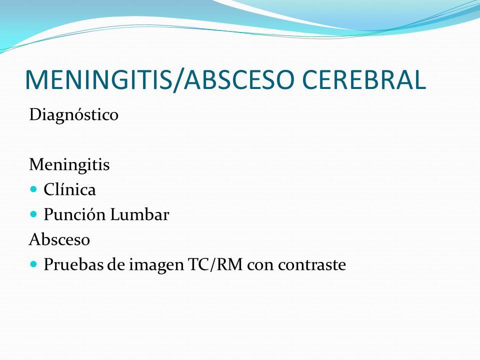 MENINGITIS/ABSCESO CEREBRAL Diagnóstico Meningitis Clínica Punción Lumbar Absceso Pruebas de imagen TC/RM con contraste